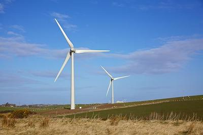 The two wind turbines at Ysgellog Farm, near Amlwch