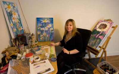 Anita Ricketts, drawing, painting and mixed media, at her studio in Holyhead