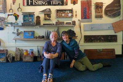 artists Alison Englefield and Clare Calder-Marshall at the Exhibition set up