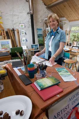 Christine Garwood in her Tyn Lôn Studio, Malltraeth, Anglesey