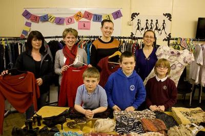 Waste Promotions Officers from Anglesey County Council with Sandra Jones and Llangefni Communities First 'Young Explorers' Group.