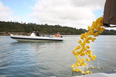 Phil Scott from RIBRIDE Adventure Boat Tours launching the Ducks