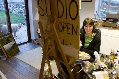 Anwen Roberts at her studio Bumwerth, Trearddur Bay
