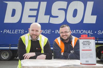 Delsol driver Paul Kavanagh with Steve Jones warehouse supervisor at Bimeda , Llangefni