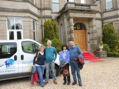 Christine, Steve, Chris and Tom arrive at Tre-Ysgawen Hall hotel