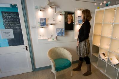 Kriket Broadhurst, Jewellery Designer-Maker, at The Beaumaris Jewellery Studio, Anglesey.