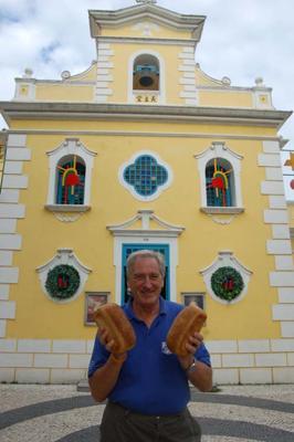 Graham and The Llynnon loaves,  St. Francis Xavier Church, Coloane , Macau, South China