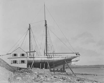 One of James Hartley Burton's schooners on the slipway under Mount Field