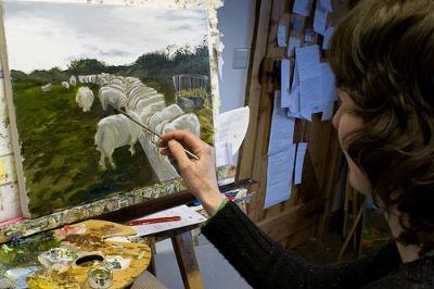 Anwen Roberts at her studio Bumwerth, Trearddur Bay